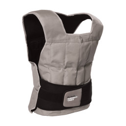 Grey Perfect Fitness weight vest with black strap across bottom of vest