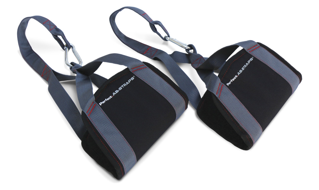 Two perfect Ab Straps laying flat showing grey nylon straps, foam padding and connecting carabiners