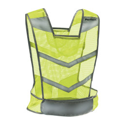 Neon Perfect Reflective Vest with grey reflective strips across front of back of vest