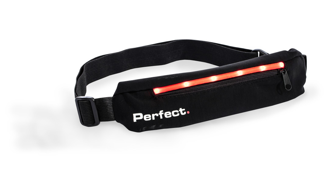 Black Perfect Fitness running waist belg with red LED lighting and black zipper on font