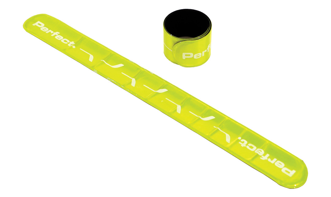 Two Perfect Fitness neon safety straps, one laid out diagonally and one curled up
