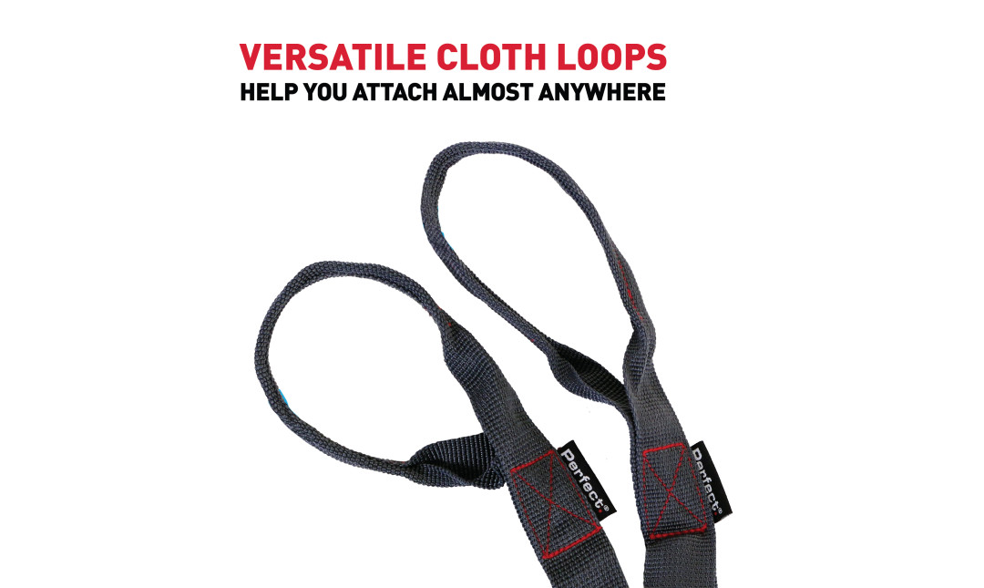 "Grey Perfect Bands Extreme handles against a white background with text ""versatile cloth loops"" in red and ""help you attach almost anywhere"" in black."