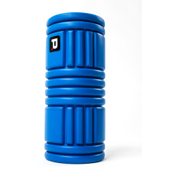 Upright blue Perfect Fitness foam roller in front of white background