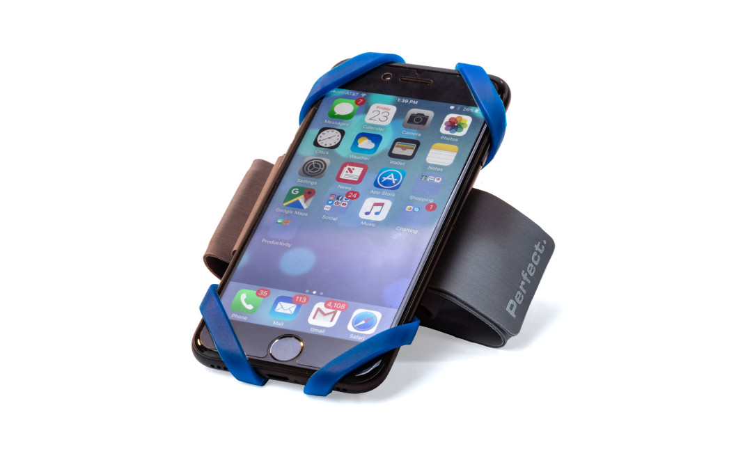 Perfect Fitness smartphone armband featuring blue silicone straps securing iPhone