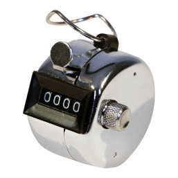 Silver Perfect Fitness Analog tally counter with top hook, reset lever, and black display featuring the numbers 0000