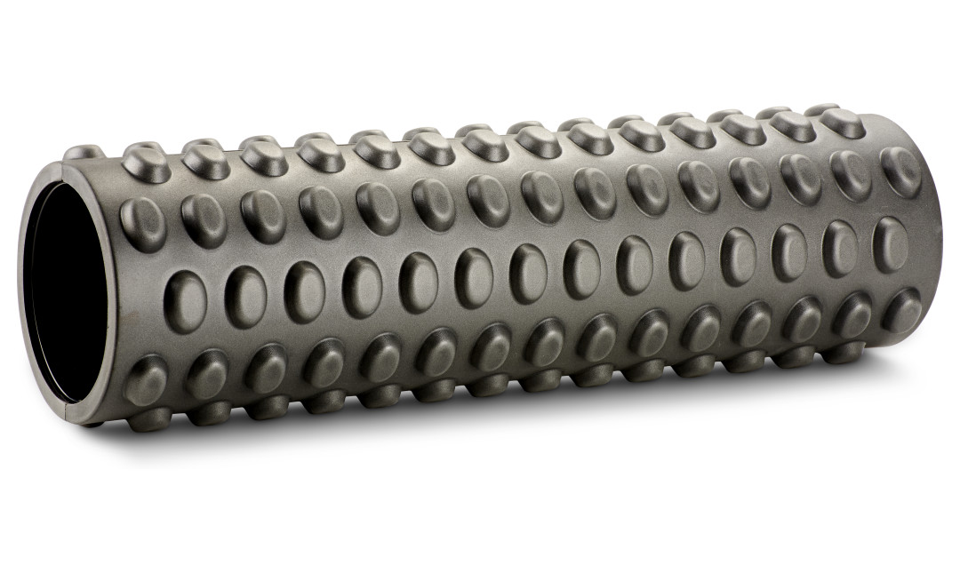 Black perfect fitness deep tissue massage roller laying on side featuring raised nodules